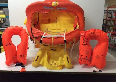 Life raft and jackets